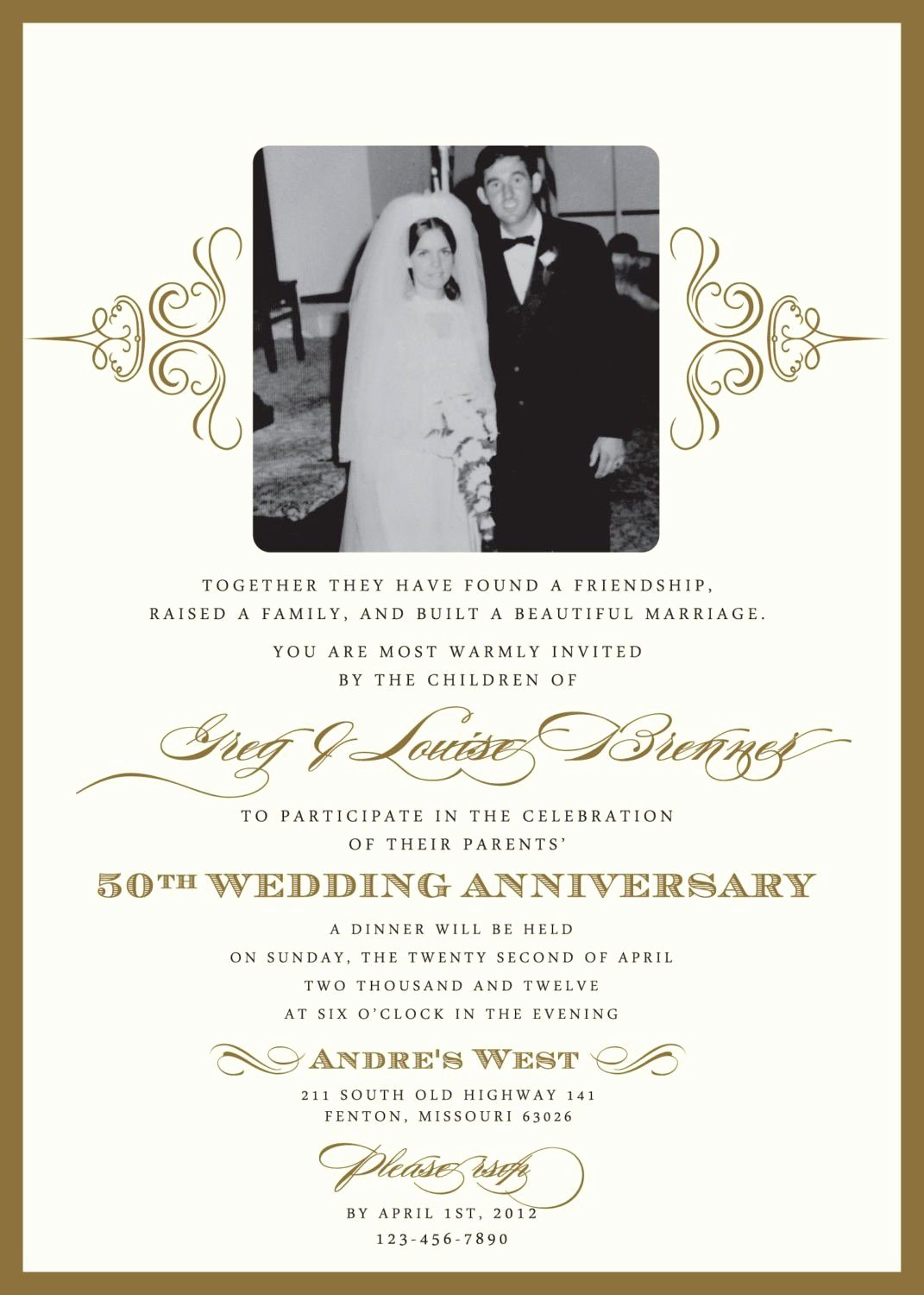 Wedding Anniversary Invitation Template Best Of Golden Wedding Anniversary Invitation Golden Wedding