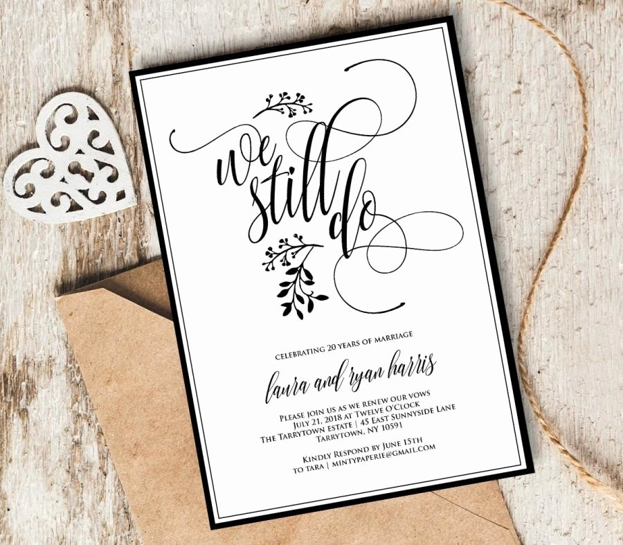 Wedding Anniversary Invitation Template Best Of Vow Renewal Invitation Template We Still Do Instant