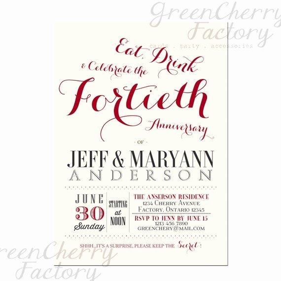 Wedding Anniversary Invitation Template Fresh Wedding Invitation Wording 40th Wedding Anniversary