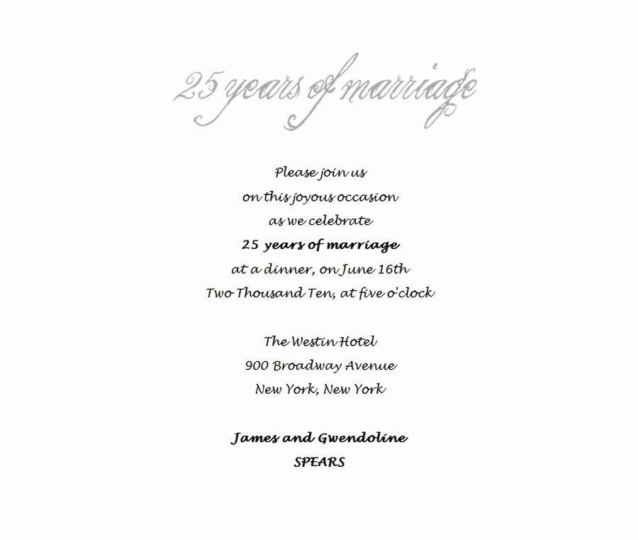 Wedding Anniversary Invitation Template Inspirational 25th Wedding Anniversary Invitations 4 Wording