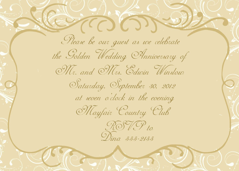 Wedding Anniversary Invitation Template Unique Anniversary Invitations Golden Wedding Anniversary