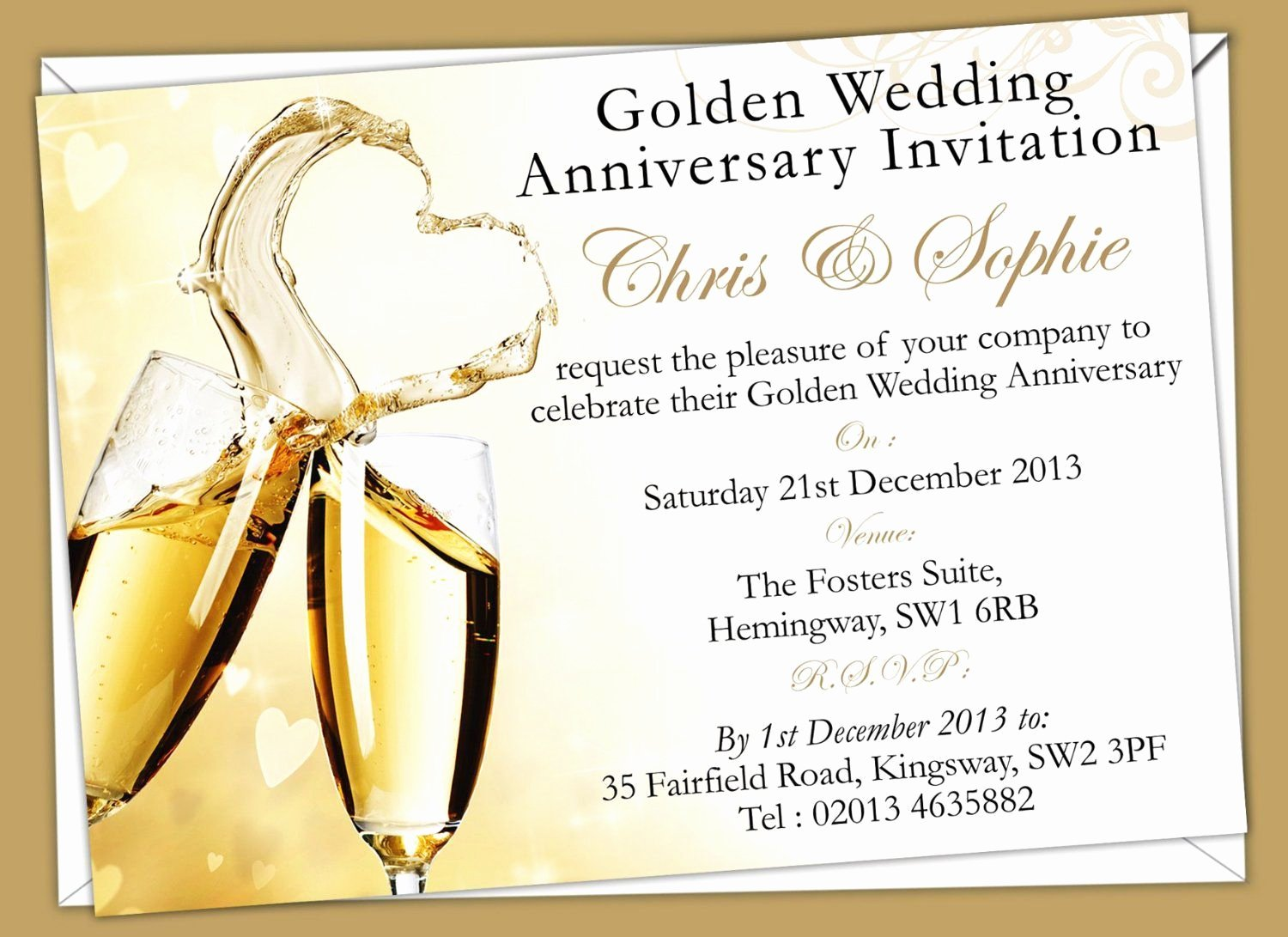 Wedding Anniversary Invite Template Beautiful Golden Wedding Anniversary Invitation Golden Wedding