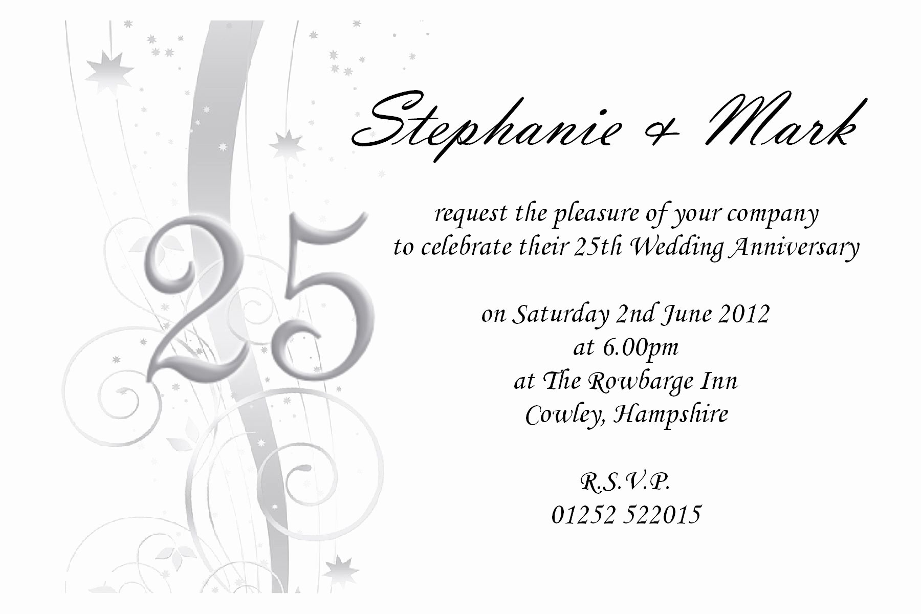 Wedding Anniversary Invite Template Best Of 25th Wedding Anniversary Invites 25th Wedding