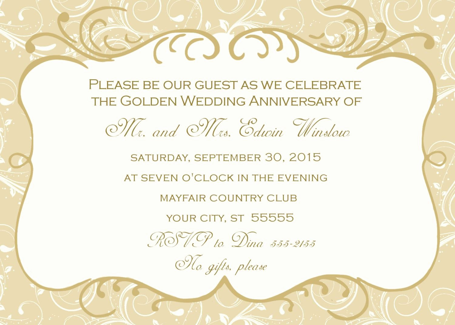 Wedding Anniversary Invite Template Elegant Golden Wedding Anniversary Invitation Golden Wedding