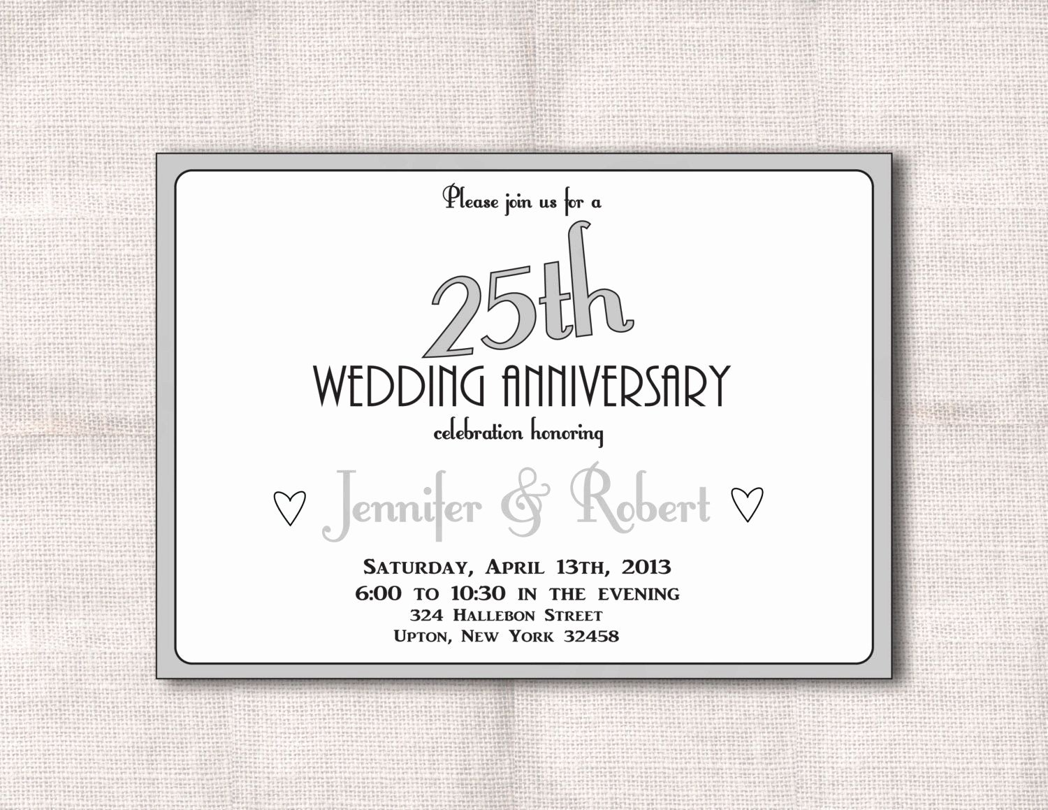 Wedding Anniversary Invite Template Fresh Surprise 25th Wedding Anniversary Invitation Templates