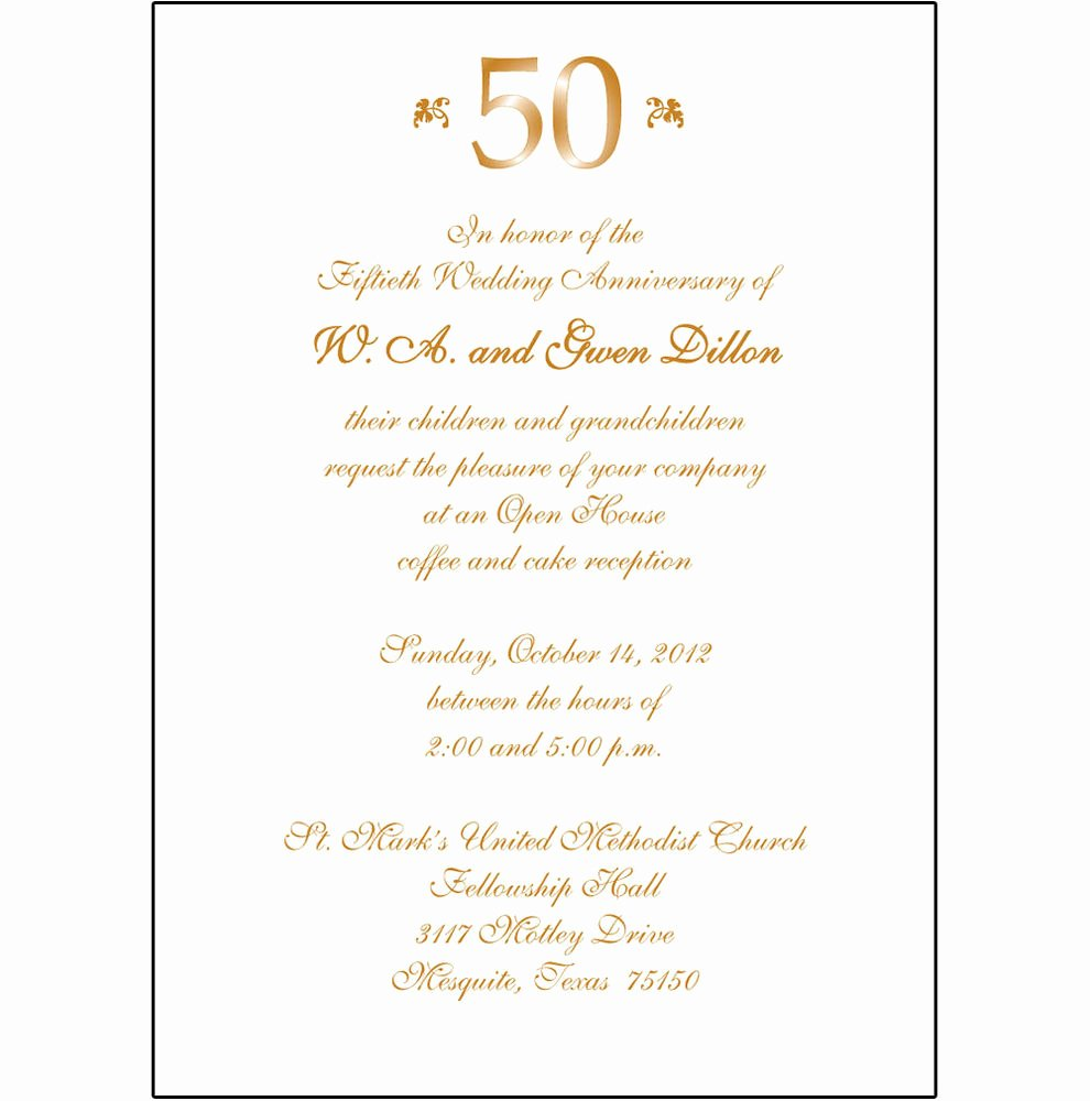 Wedding Anniversary Invite Template Inspirational 25 Personalized 50th Wedding Anniversary Party Invitations