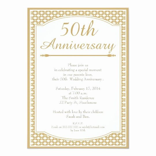 Wedding Anniversary Invite Template Inspirational 50th Wedding Anniversary Invitation