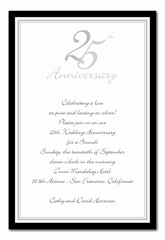 Wedding Anniversary Invite Template Inspirational Wedding Invitation Wording 25th Wedding Anniversary