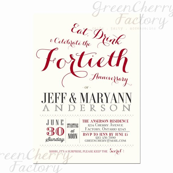 Wedding Anniversary Invite Template Inspirational Wedding Invitation Wording 40th Wedding Anniversary