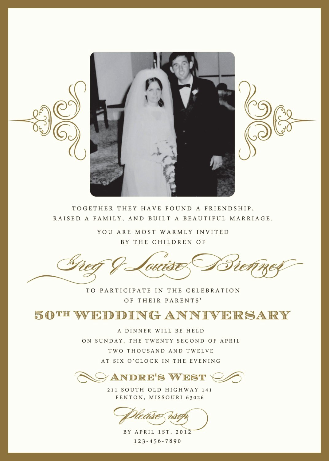 Wedding Anniversary Invite Template Unique 50th Anniversary Invites Templates Free Templates