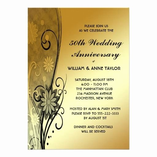 Wedding Anniversary Invite Template Unique 50th Wedding Anniversary Invitations Templates 50th