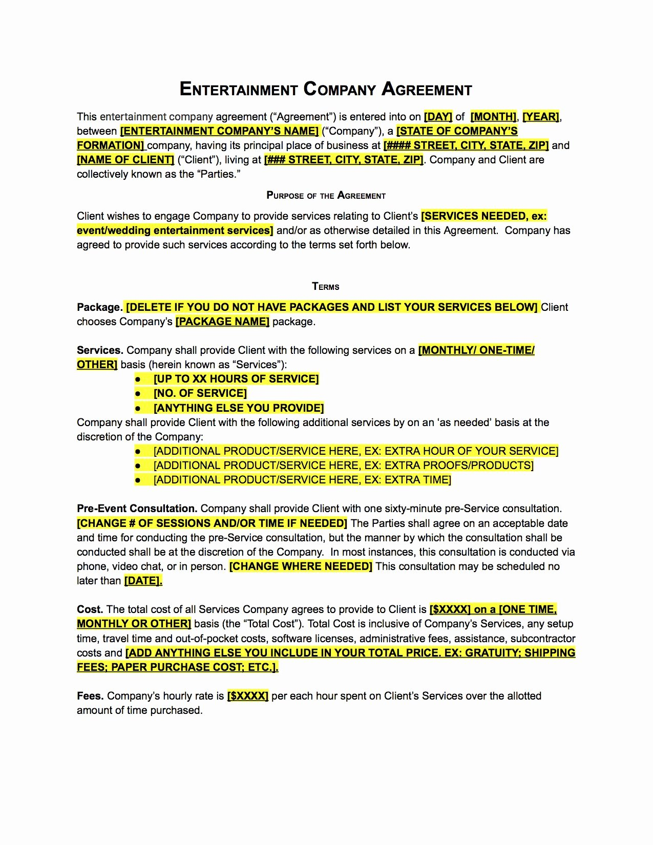 Wedding Band Contract Template Beautiful [bundle] Vendor Templates for Wedding Planners the