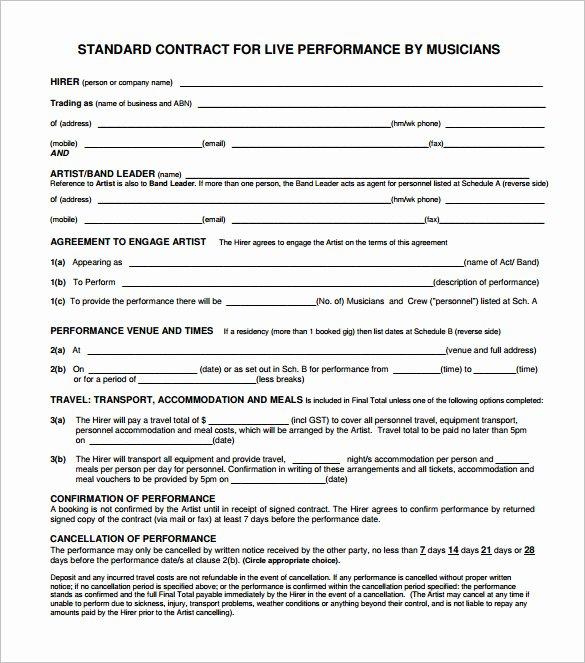 Wedding Band Contract Template Fresh 20 Music Contract Templates Word Pdf Google Docs
