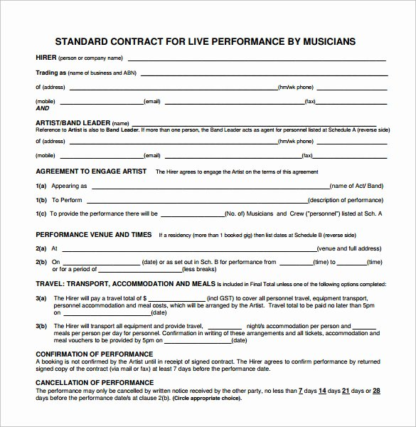 Wedding Band Contract Template Luxury 18 Band Contract Templates – Free Samples Examples