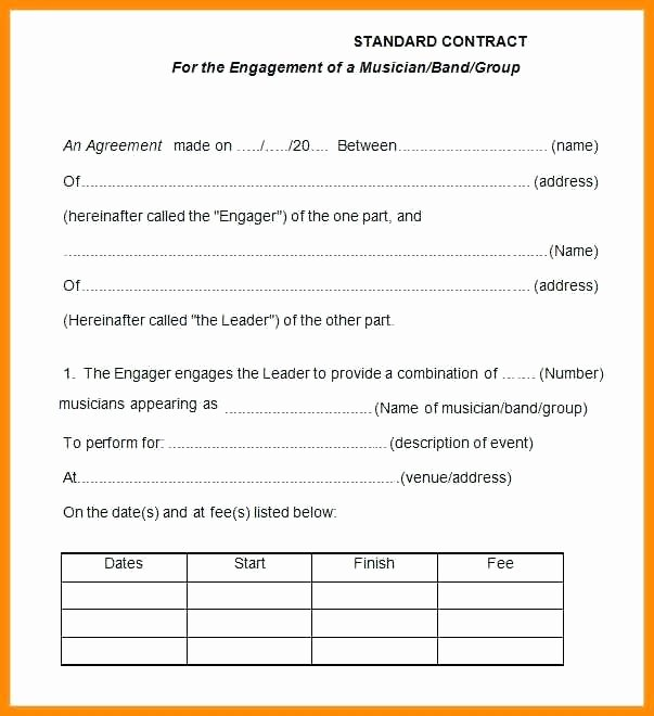 Wedding Band Contract Template Luxury Performance Agreement Template Entertainment Contract
