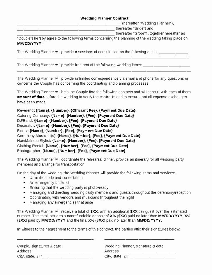 Wedding Band Contract Template New Wedding Planner Contract