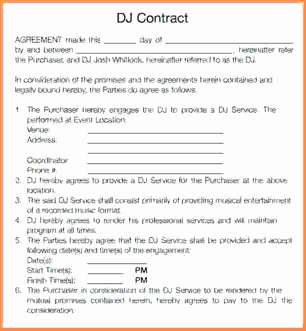 Wedding Band Contract Template Unique Wedding Dj Template – Flybymedia