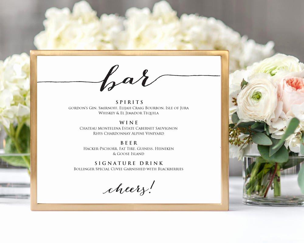 Wedding Bar Menu Template Beautiful Wedding Bar Menu · Wedding Templates and Printables