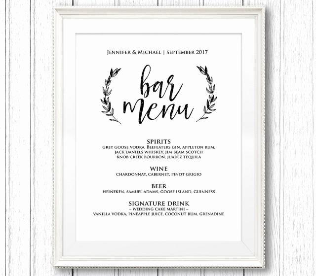 Wedding Bar Menu Template Elegant Wedding Bar Menu Sign Printable Sign Template Rustic
