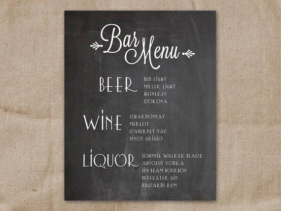 Wedding Bar Menu Template Luxury Home Bar Background Ideas