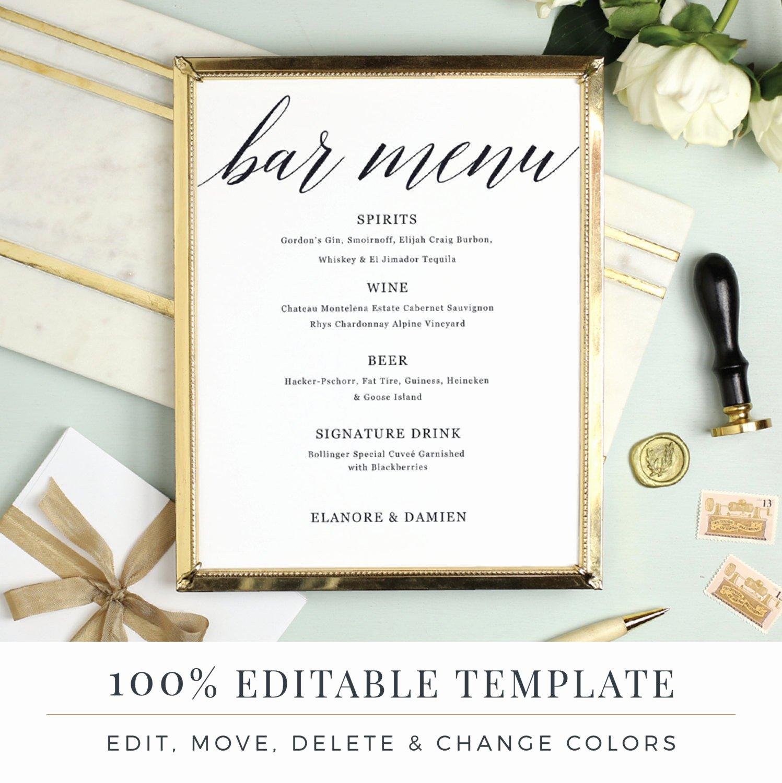 Wedding Bar Menu Template Luxury Wedding Bar Menu Template Editable Bar Menu Printable Word