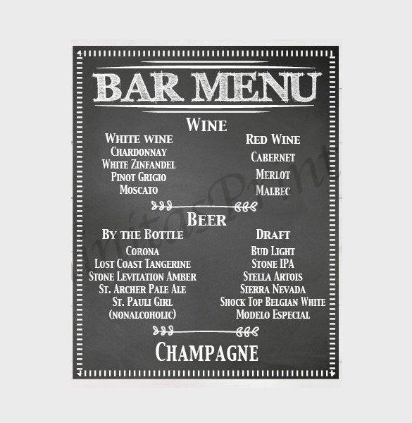 Wedding Bar Menu Template Unique 24 Bar Menu Templates – Free Sample Example format