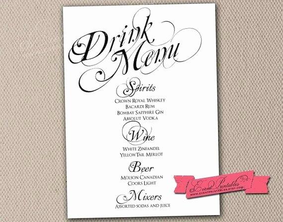 Wedding Bar Menu Template Unique Printable Drink Menu Card Diy Wedding Reception Drinks