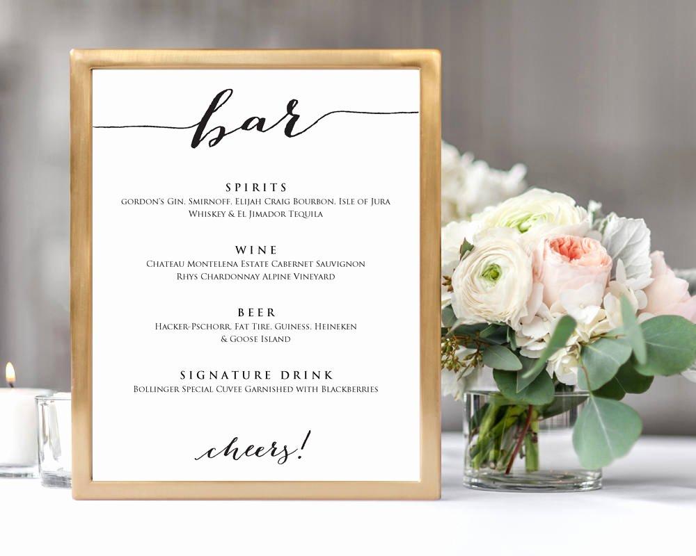 Wedding Bar Menu Template Unique Wedding Bar Menu · Wedding Templates and Printables