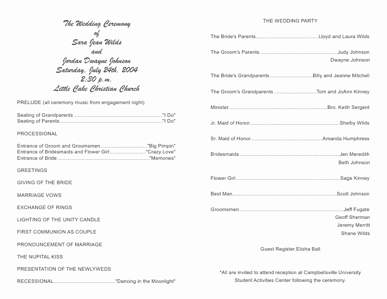 Wedding Church Program Template Awesome Wedding Bulletin Se Inkco Wedding Church Bulletins