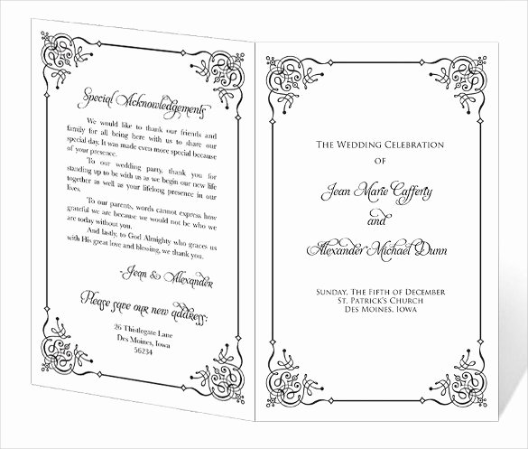Wedding Church Program Template Fresh 67 Wedding Program Template Free Word Pdf Psd