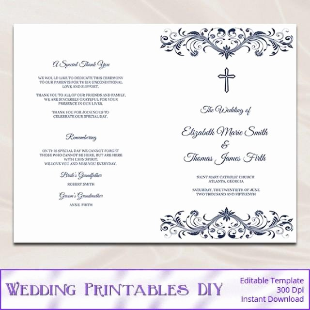Wedding Church Program Template Fresh Catholic Wedding Program Template Diy Navy Blue Cross