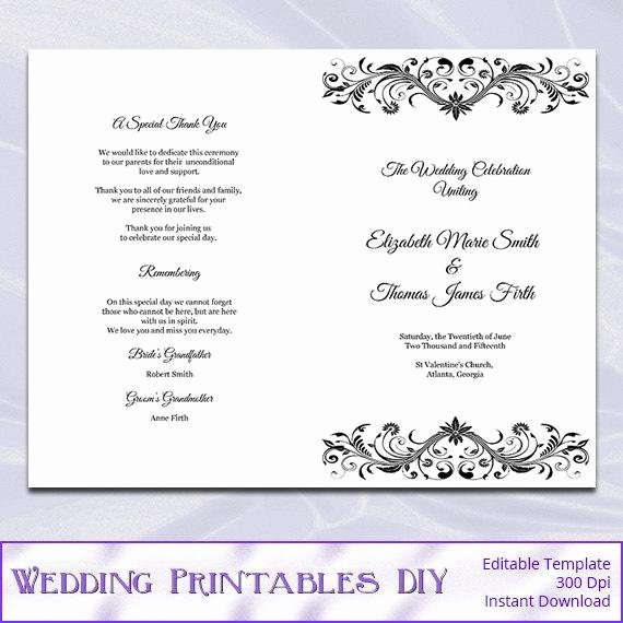 Wedding Church Program Template Fresh Wedding Program Booklet Template Black by Weddingprintablesdiy