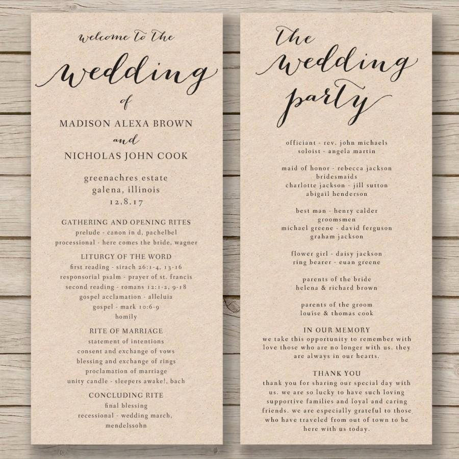 Wedding Church Program Template Luxury 28 Of 2 Fold Wedding Program Template Free