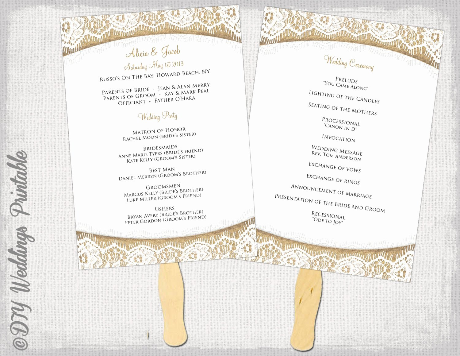 Wedding Church Program Template Luxury Wedding Program Fan Template Rustic Burlap & Lace