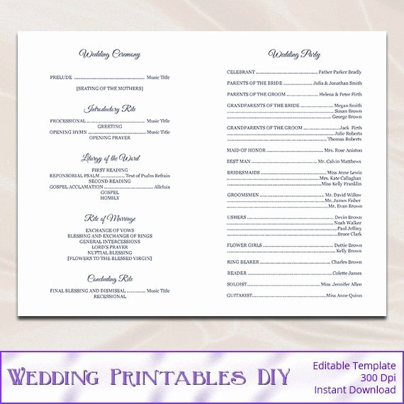 Wedding Church Program Template New Catholic Wedding Program Template Diy Navy Blue Cross