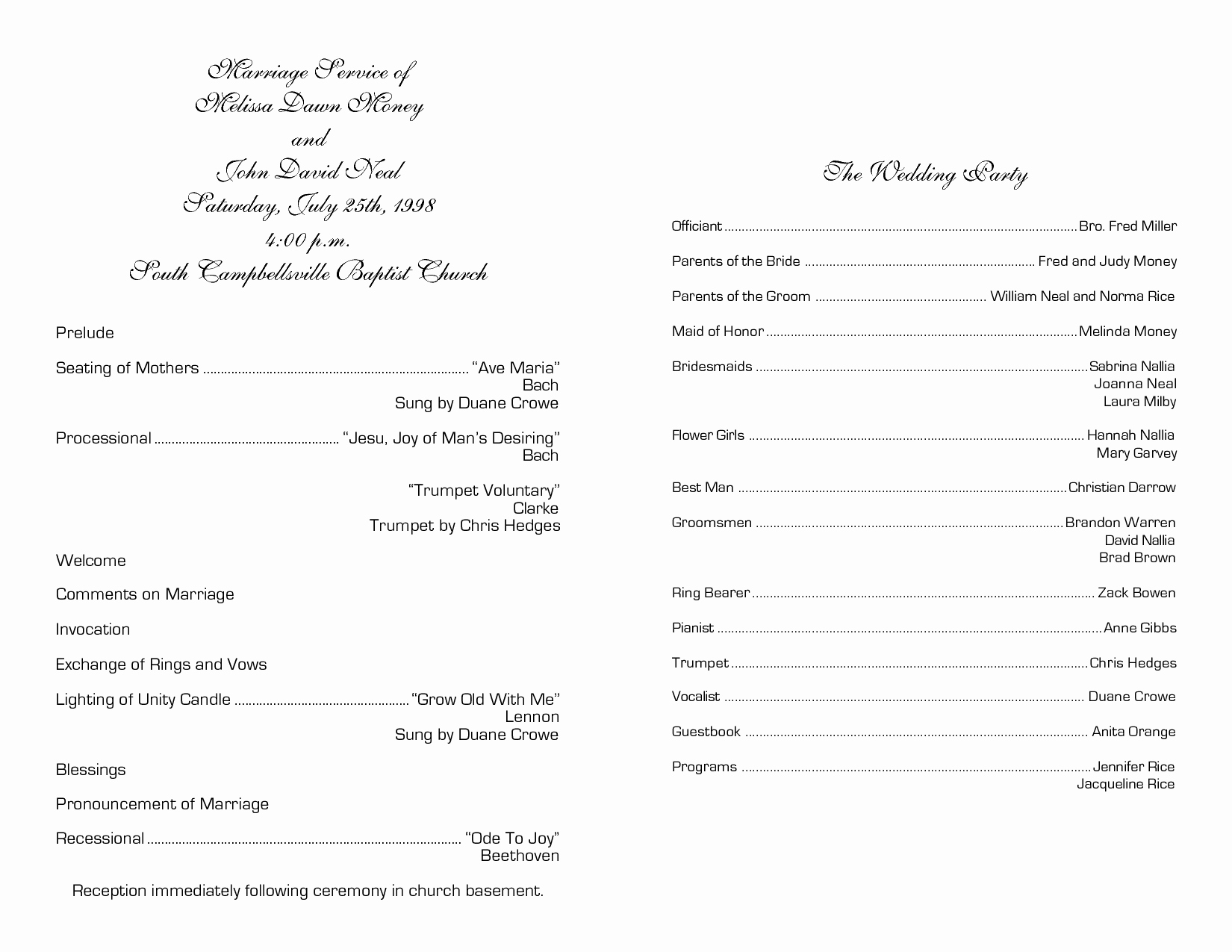 Wedding Church Program Template New Church Program Template