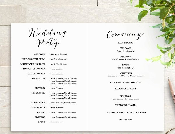 Wedding Church Program Template Unique 25 Wedding Program Templates Free Psd Ai Eps format