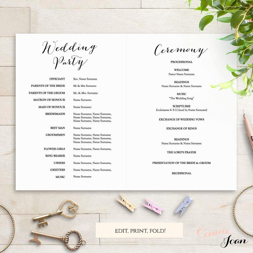 Wedding Church Program Template Unique Sweet Bomb Printable Folded Wedding order Of Service