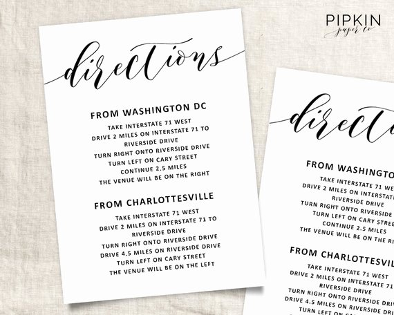 Wedding Direction Card Template Beautiful Printable Directions for Invitation – orderecigsjuicefo