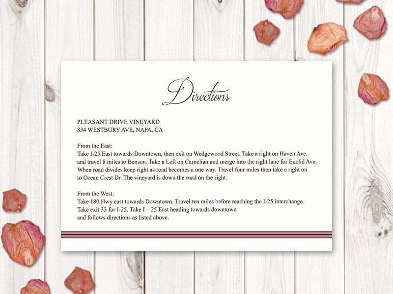 Wedding Direction Card Template Best Of Wedding Directions Card Template Classic Roses