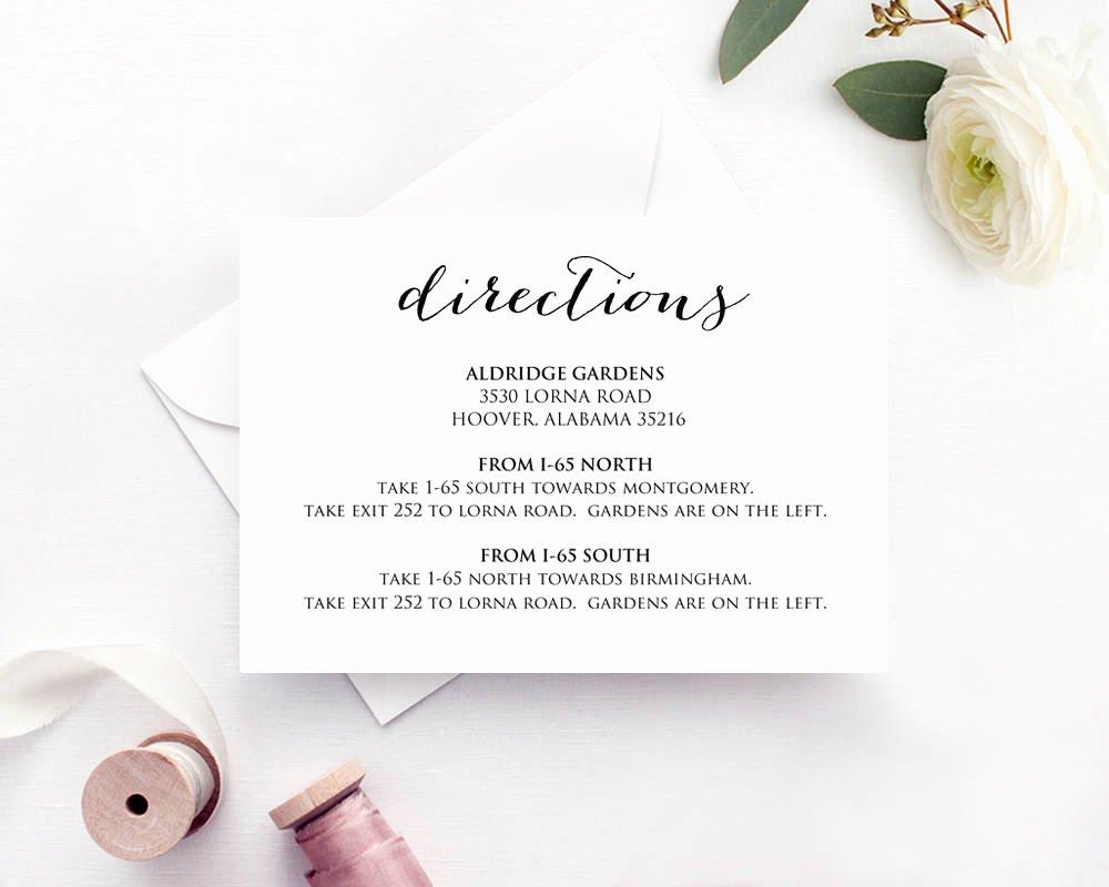Wedding Direction Card Template Elegant Directions Card Insert Wedding Direction Details Card