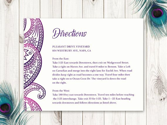 "Wedding Direction Card Template Fresh 28 Best Indian Wedding Invitation Templates ""paisley"