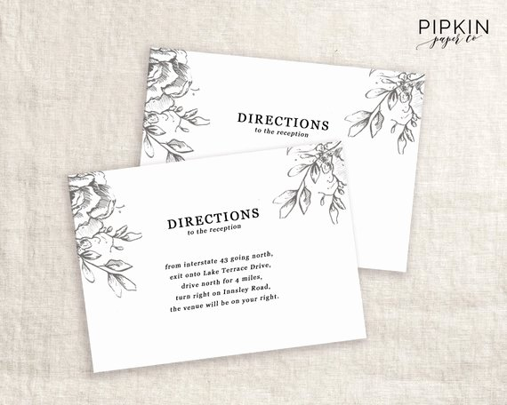 Wedding Direction Card Template Inspirational Wedding Directions Card Template Printable Wedding