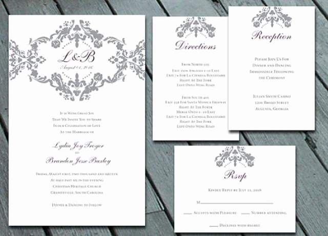 Wedding Direction Card Template New Damask Wedding Invitation Suite with Rsvp Info Card