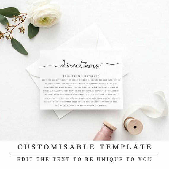 Wedding Direction Cards Template Awesome Printable Wedding Directions Template Wedding Insert Cards