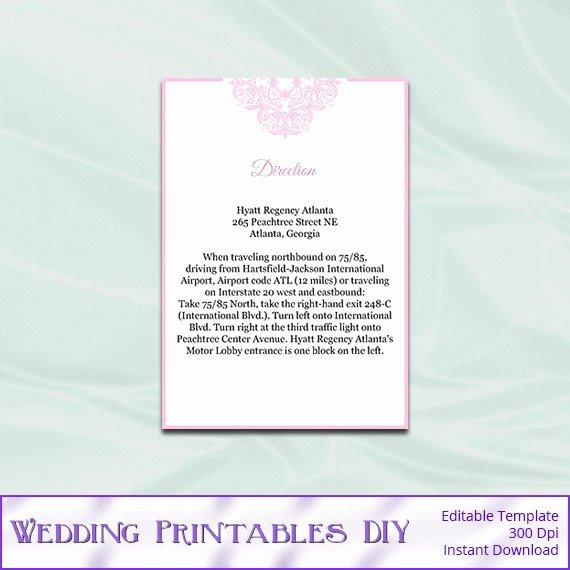 Wedding Direction Cards Template Awesome Wedding Enclosure Cards Template Diy Blush by