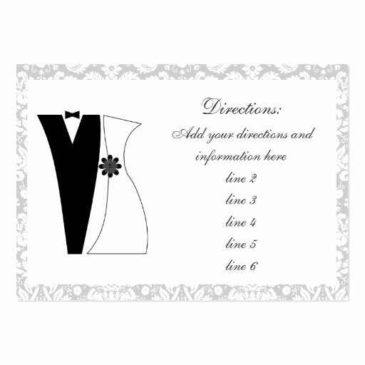 Wedding Direction Cards Template Elegant 100 Damask Wedding Direction Cards Bride & Groom
