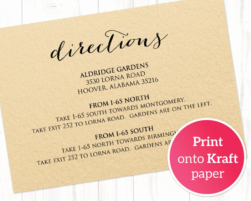 Wedding Direction Cards Template Inspirational Direction Cards Template
