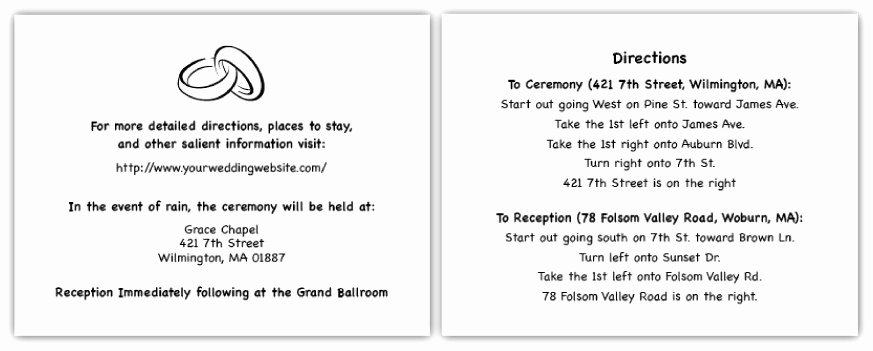 Wedding Direction Cards Template Lovely Sample Direction Cards for Wedding Invitations New