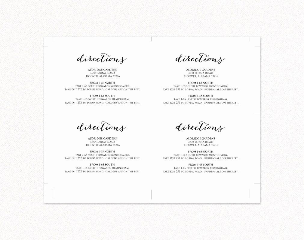Wedding Direction Cards Template Lovely Wedding Directions Card · Wedding Templates and Printables